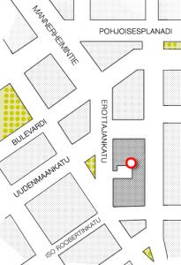Skillnadsgatan 9 B (innergården) 00130 Helsingfors fax: 09-6811 0550 Lokaltrafik - Spårvagn 10 - Buss 17