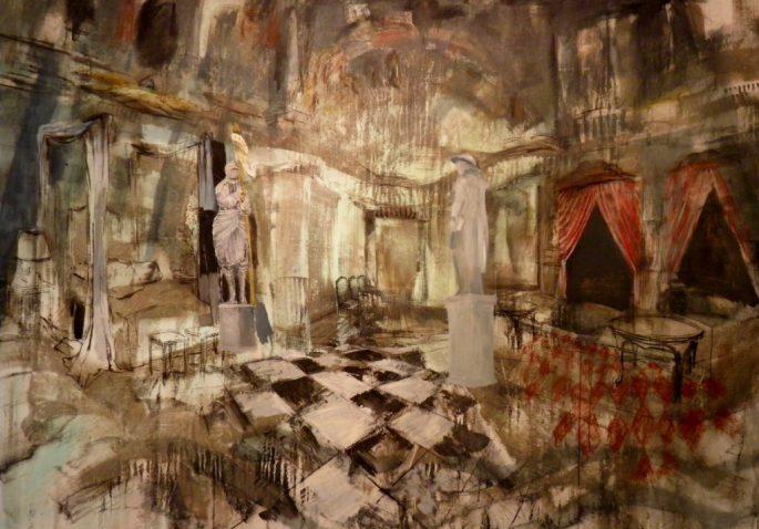 Tunteet ja järki (Jeanne & Johann), akryyli ja liitu kankaalle, 164 x 237 cm, 2015