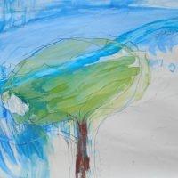 Rannalla kukkiva puu, Ett blommande träd vid stranden